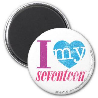 I Love My 17 Aqua 2 Inch Round Magnet
