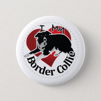I Love My Adorable Funny & Cute Border Collie Dog 2 Inch Round Button