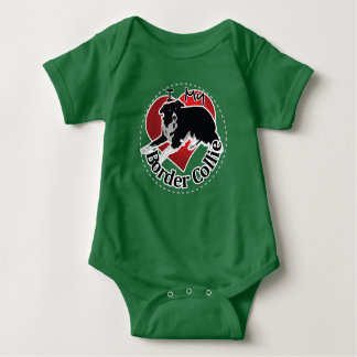 I Love My Adorable Funny & Cute Border Collie Dog Baby Bodysuit