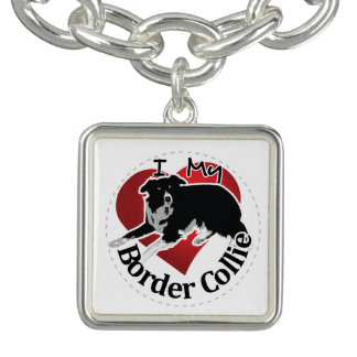 I Love My Adorable Funny & Cute Border Collie Dog Charm Bracelets