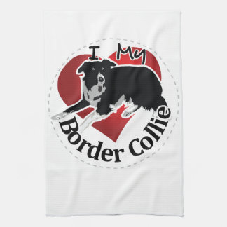 I Love My Adorable Funny & Cute Border Collie Dog Kitchen Towel