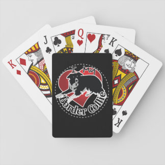 I Love My Adorable Funny & Cute Border Collie Dog Playing Cards