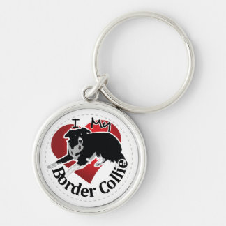 I Love My Adorable Funny & Cute Border Collie Dog Silver-Colored Round Keychain