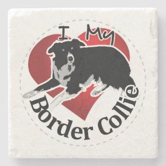 I Love My Adorable Funny & Cute Border Collie Dog Stone Coaster