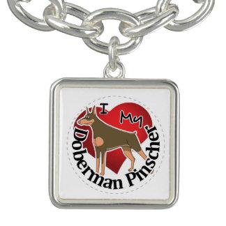 I Love My Adorable Funny & Cute Doberman Pinscher Charm Bracelets