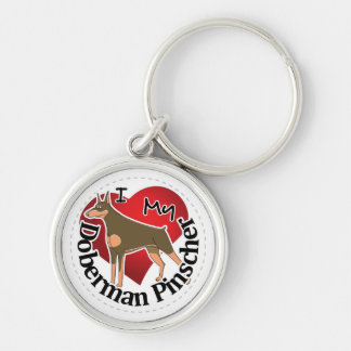 I Love My Adorable Funny & Cute Doberman Pinscher Silver-Colored Round Keychain