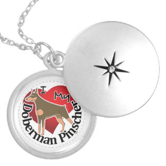 I Love My Adorable Funny & Cute Doberman Pinscher Silver Plated Necklace