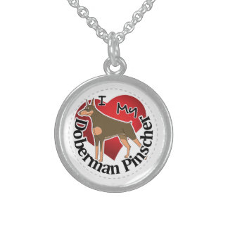 I Love My Adorable Funny & Cute Doberman Pinscher Sterling Silver Necklace