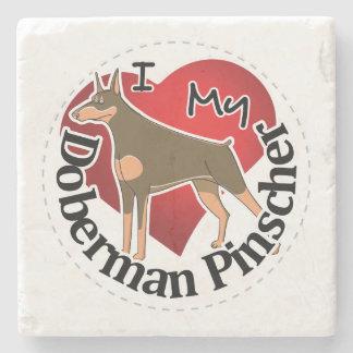 I Love My Adorable Funny & Cute Doberman Pinscher Stone Coaster