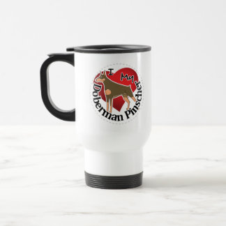 I Love My Adorable Funny & Cute Doberman Pinscher Travel Mug