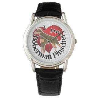 I Love My Adorable Funny & Cute Doberman Pinscher Watch