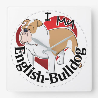 I Love My Adorable Funny & Cute English Bulldog Square Wall Clock