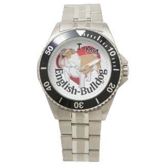 I Love My Adorable Funny & Cute English Bulldog Watch
