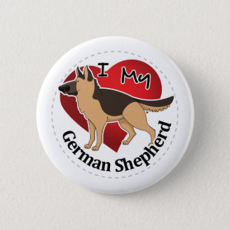 I Love My Adorable Funny & Cute German Shepherd 2 Inch Round Button