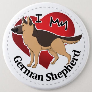 I Love My Adorable Funny & Cute German Shepherd 6 Inch Round Button
