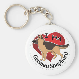 I Love My Adorable Funny & Cute German Shepherd Keychain