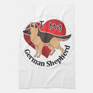 I Love My Adorable Funny & Cute German Shepherd Kitchen Towel