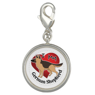 I Love My Adorable Funny & Cute German Shepherd Photo Charm