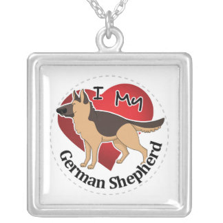 I Love My Adorable Funny & Cute German Shepherd Silver Plated Necklace