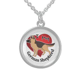 I Love My Adorable Funny & Cute German Shepherd Sterling Silver Necklace