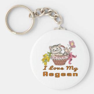 I Love My Aegean Basic Round Button Keychain