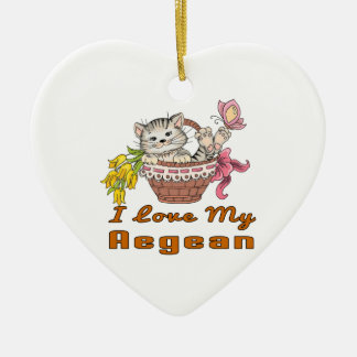 I Love My Aegean Ceramic Heart Ornament