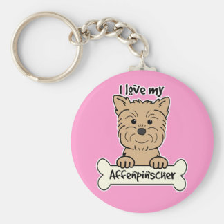 I Love My Affenpinscher Basic Round Button Keychain