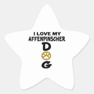 I Love My Affenpinscher Dog Designs Star Sticker