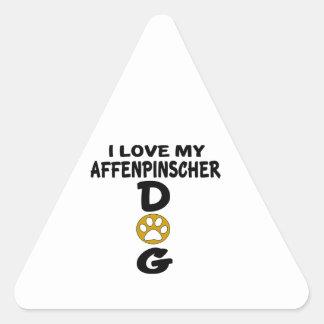 I Love My Affenpinscher Dog Designs Triangle Sticker