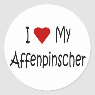 I Love My Affenpinscher Dog Gifts and Apparel Round Sticker