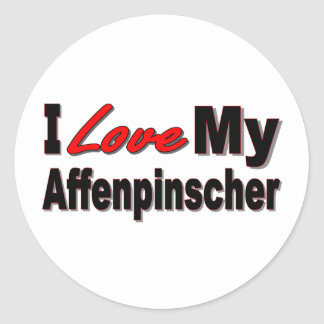 I Love My Affenpinscher Dog Merchandise Round Sticker