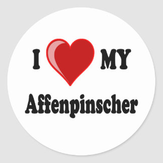 I Love My Affenpinscher Dog Round Sticker