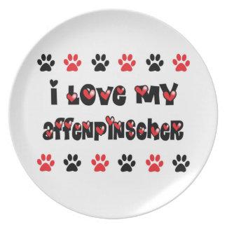 I Love My Affenpinscher Party Plate