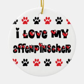 I Love My Affenpinscher Round Ceramic Ornament