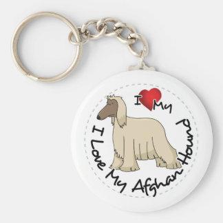 I Love My Afghan Hound Dog Keychain