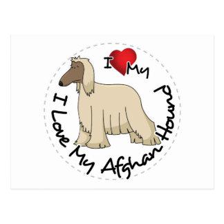 I Love My Afghan Hound Dog Postcard