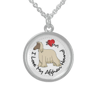 I Love My Afghan Hound Dog Sterling Silver Necklace