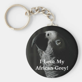 I Love My African Grey! Parrot Keychain