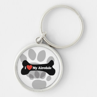 I Love My Airedale - Dog Bone Silver-Colored Round Keychain