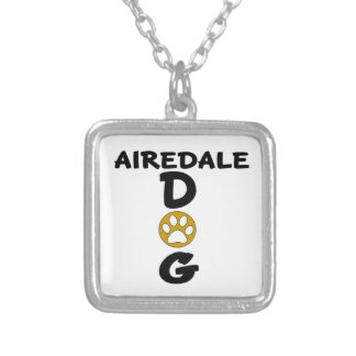 I Love My Airedale Dog Designs Silver Plated Necklace