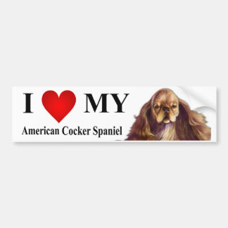 I Love My American Cocker Spaniel Bumper Sticker