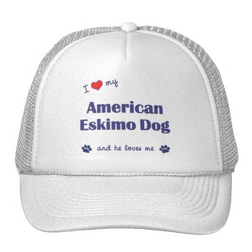 I Love My American Eskimo Dog (Male Dog) Hats