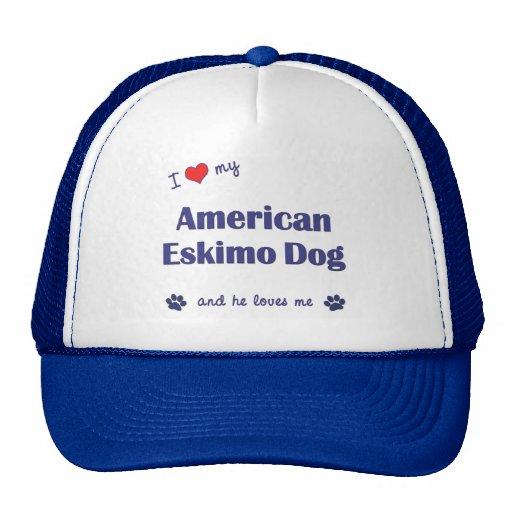 I Love My American Eskimo Dog (Male Dog) Mesh Hat