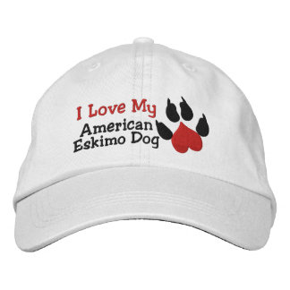 I Love My American Eskimo Dog Paw Print Embroidered Hat