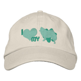 I Love my American Eskimo Dog Teal Embroidered Hat Embroidered Hat