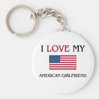 I Love My American Girlfriend Basic Round Button Keychain