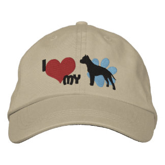 I Love my American Staffordshire Terrier Embroidered Hat