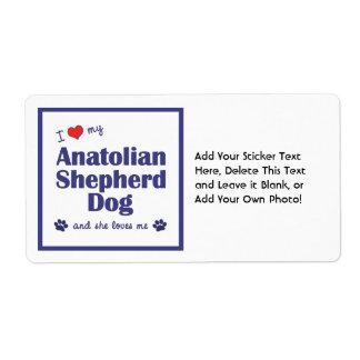 I Love My Anatolian Shepherd Dog (Female Dog) Shipping Label