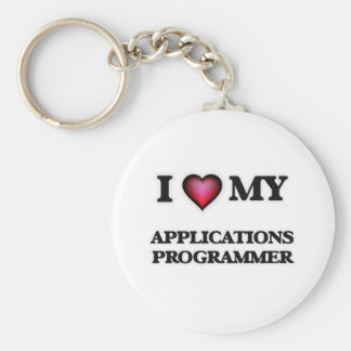 I love my Applications Programmer Basic Round Button Keychain