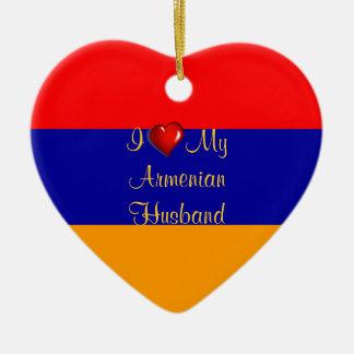 I Love My Armenian Husband Ceramic Heart Ornament